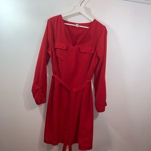 Old Navy L Red Dress with Tie Belt